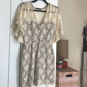 boho lace mini dress / cream / v neck / Modcloth